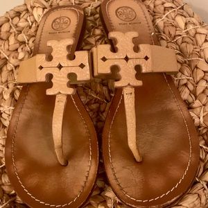 Authentic Tory Burch tumbled leather slide sandals